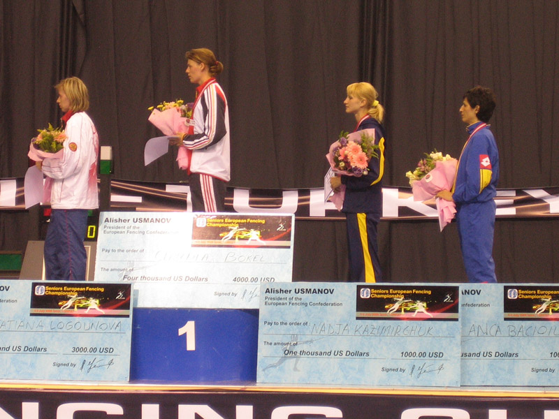 Nadiya Fortunatova on the podium: European Championships bronze medal